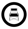 folding chair black icon in circle vector image vector image