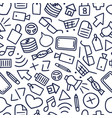 Funny seamless pattern with different doodle icon