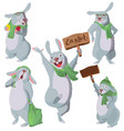 happy easter set of funny white rabbits vector image