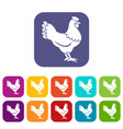 hen icons set vector image vector image