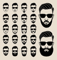 hipster faces with beard user avatar icon set vector image vector image
