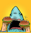 hungry shark eat burger vector image vector image