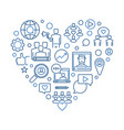 influencer heart thin line blue vector image vector image