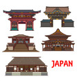 japanese temple and shrine icons travel landmark vector image vector image