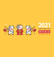 little oxes holding lanterns happy new year banner vector image