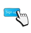 Mouse hand cursor on sign up button vector image vector image