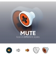 Mute icon in different style vector image vector image