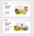 nature farm landing page summer farm landscape vector image