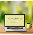 Notebook at nature outdors work laptod desktop vector image vector image