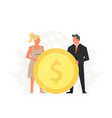 office people hold a large gold coin concept of vector image vector image