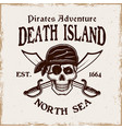 pirates emblem with skull in bandana and vector image