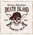 pirates emblem with skull in bandana vector image vector image
