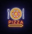 pizza neon sign pizzeria neon logo emblem vector image vector image