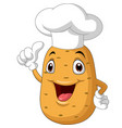 potato chef cartoon giving thumb up vector image vector image