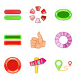 roll up icons set cartoon style vector image