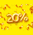 sale 20 off ballon number on yellow background vector image vector image