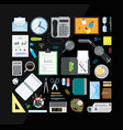 set of office related items from top view vector image vector image