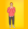 shocked man hipster with raised hands vector image vector image