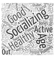Socializing to Continue Healthy Aging Word Cloud vector image vector image