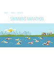 swimmer athletes competition maraphone in river vector image vector image