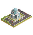 temple building isometric composition poster vector image