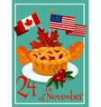 Thanksgiving Day pie greeting card design vector image