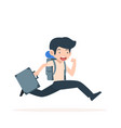 tourist man running with backpacks vector image
