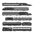 trains and wagons black railway cargo and vector image