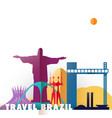 travel brazil paper cut world monuments vector image