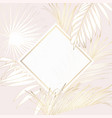 tropical palm leaves card template on pink vector image vector image