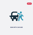 two color man with car and suitcase icon from vector image