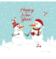 two snowman in love and heart vector image vector image
