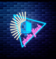 vintage photographer emblem glowing neon sign vector image vector image