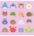 Cute cartoon animal head set 3 vector image