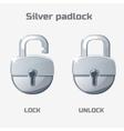 Cartoon silver padlock Lock and unlock vector image