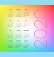 2020 year calendar template editable layout vector image