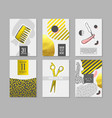 barber shop abstract posters set vector image vector image