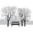 bench in city park winter landscape city tree vector image vector image