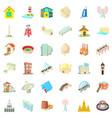 big building icons set cartoon style vector image vector image