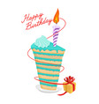 birthday piece of cake and gift great sweets vector image vector image