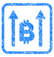 bitcoin send arrows framed stamp vector image vector image