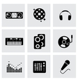 black dj icon set vector image