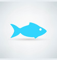 blue fish icon on white background vector image vector image