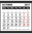 calendar sheet October 2017 vector image vector image
