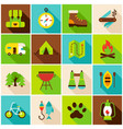 camping hiking colorful icons vector image