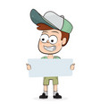 cartoon character boy with a sign vector image vector image