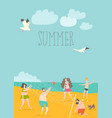 cartoon happy people playing volleyball on seaside vector image vector image
