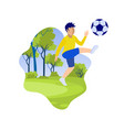 cartoon little boy kicking ball on green field vector image vector image
