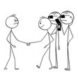 cartoon man shaking hands with businessman vector image vector image