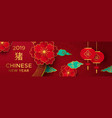 chinese new year pig red and gold paper banner vector image